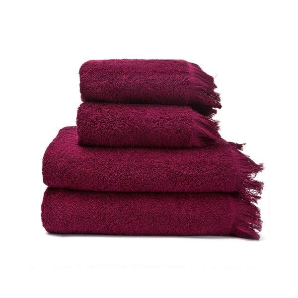 Sada 2 červených uterákov a 2 osušiek zo 100% bavlny Bonami, 50 × 90 + 70 × 140 cm
