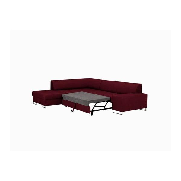 Červená rohová rozkládací pohovka s nohami ve stříbrné barvě Cosmopolitan Design Orlando, levý roh
