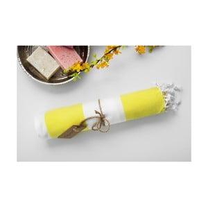 Hammam osuška Myra, žlutá/bílá