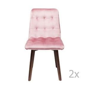 Sada 2 růžových kožených jídelních židlí Kare Design Moritz