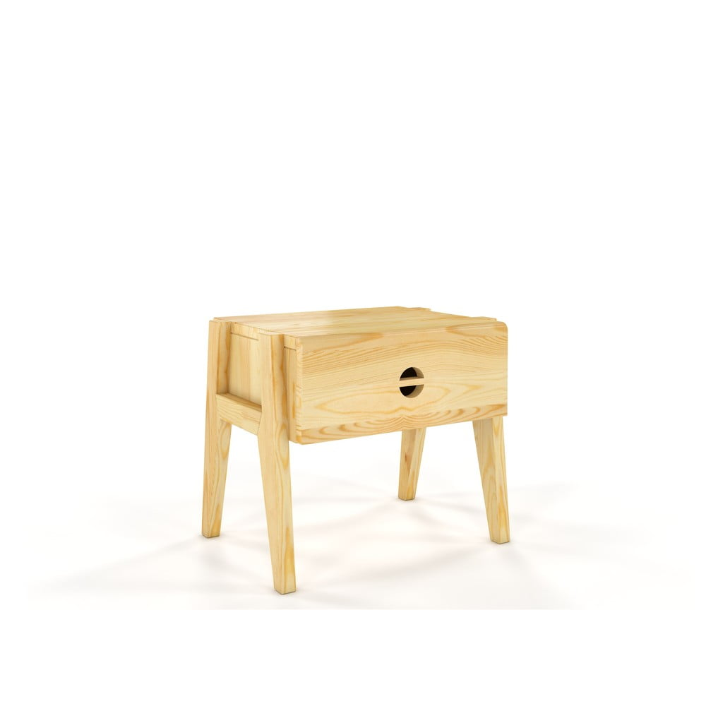 Noční stolek z borovicového dřeva se zásuvkou Skandica Visby Radom
