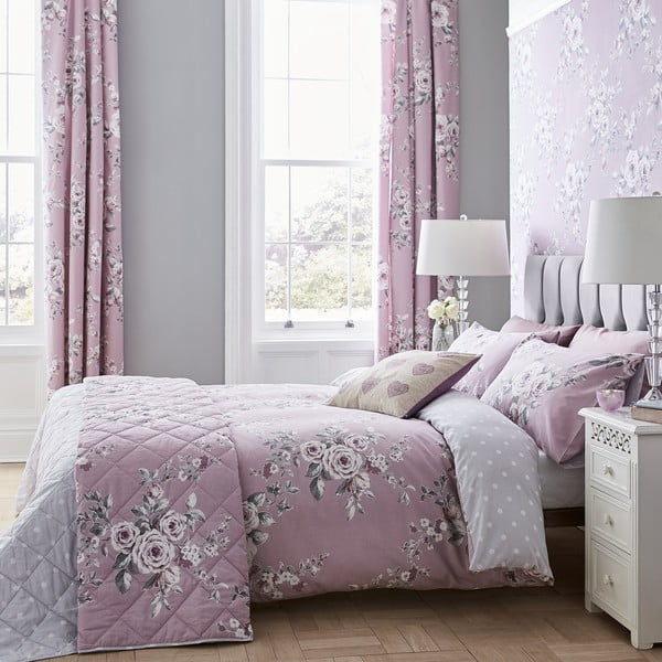 Ružovo-sivé posteľné obliečky Catherine Lansfield Canterbury, 135 x 200 cm