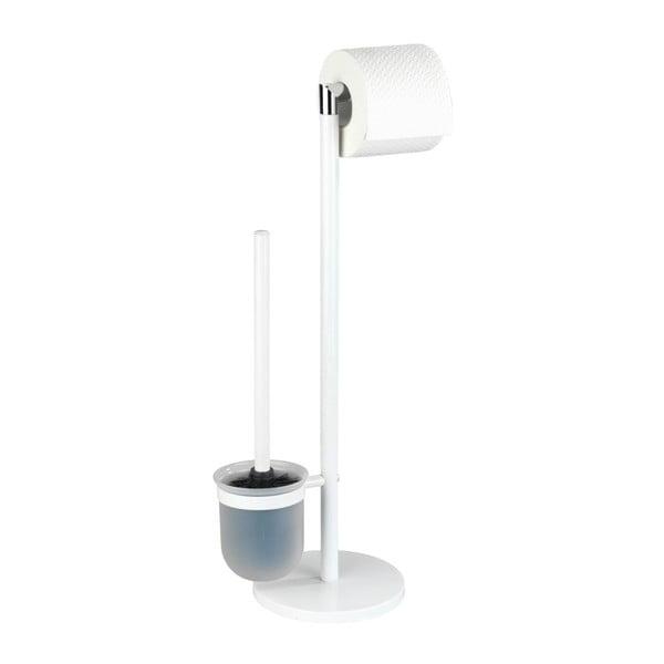 Perie WC cu suport pentru hârtia de toaletă Wenko Parus, alb