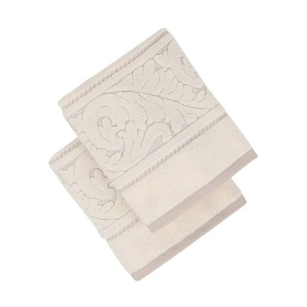 Sada 2 béžových bavlněných ručníků z bavlny Sultan, 50 x 90 cm