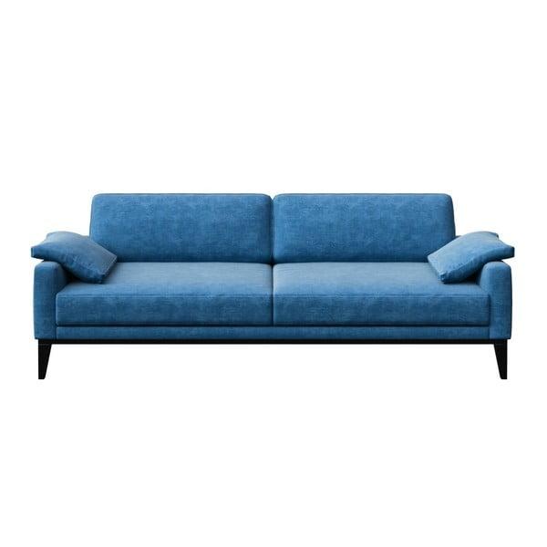 Canapea cu 3 locuri și picioare din lemn MESONICA Musso Regular, albastru