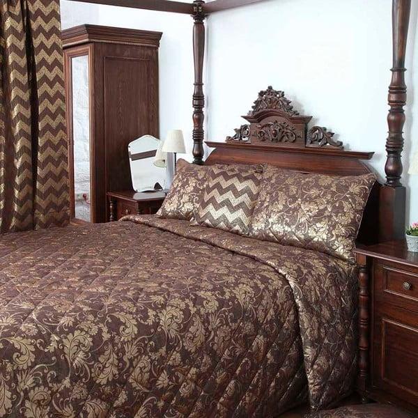 Sada přehozu přes postel a povlaků na polštář Apolena Elegance, hnědá