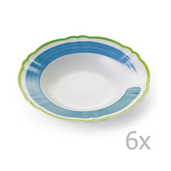 Sada 6 polévkových talířů Giotto Green/Turquoise
