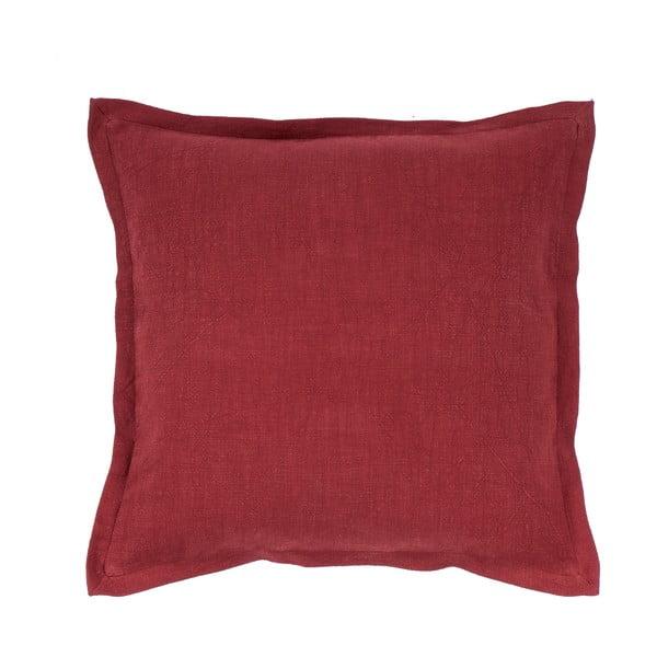 Vínově červený polštář s příměsí lnu Tiseco Home Studio, 45 x 45 cm