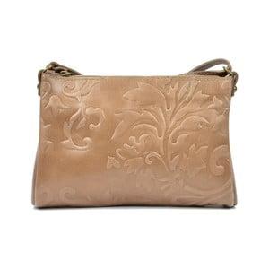 Béžová kožená kabelka Carla Ferreri Adrina