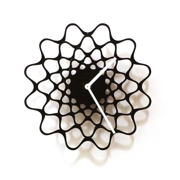 Dřevěné hodiny Embroidery černé, 29 cm