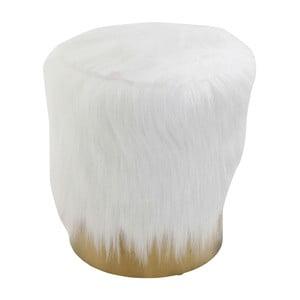 Bílá stolička se syntetickou kožešinou Kare Design Cherry, ∅35cm