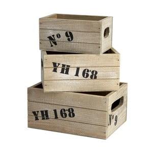 Sada tří úložných dřevěných boxů