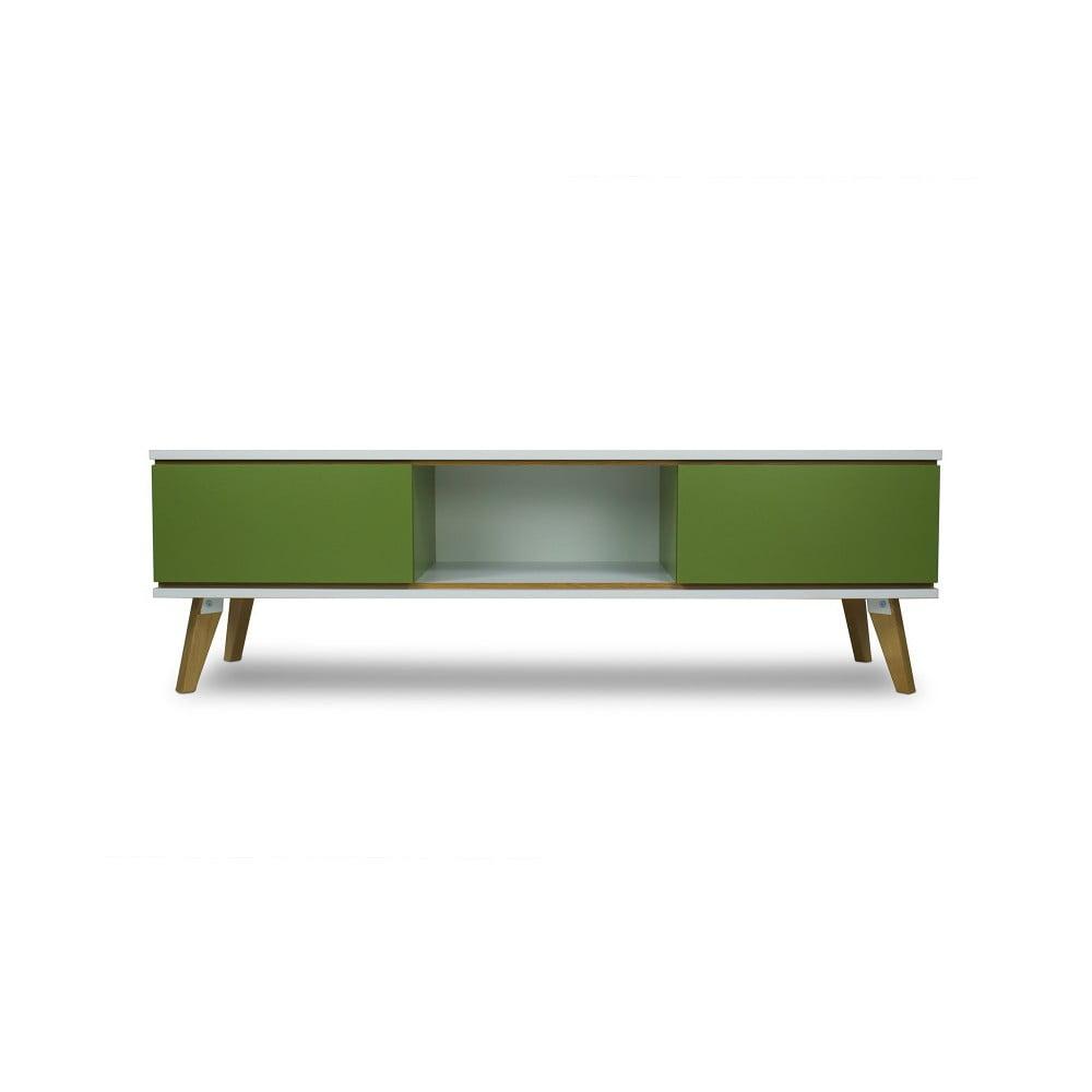 TV komoda v dekoru dřeva se zelenými detaily SKANDICA Jorgen