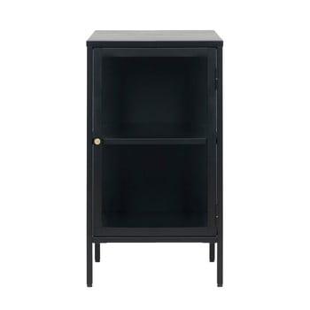 Comodă cu uși de sticlă Unique Furniture Carmel, lungime 45,3 cm, negru