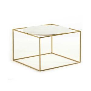 Konferenční stolek ve zlaté barvě s mramorovou deskou Thai Natura, 60x60cm