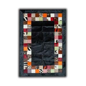Koberec z pravé kůže Black, 140x200 cm