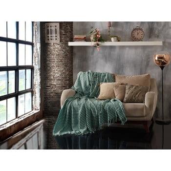 Cuvertură din bumbac matlasat pentru pat dublu EnLora Home Throw Khaki Mint, 200 x 230 cm, verde de la EnLora Home