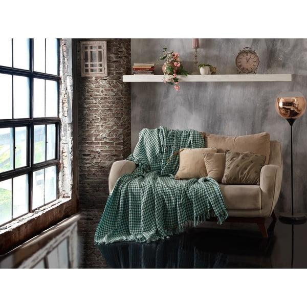 Throw Khaki Mint zöld kétszemélyes pamut ágytakaró, 200 x 230 cm - EnLora Home