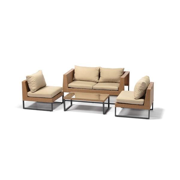 Záhradný set nábytku z umelého ratanu v cappuccinohnedej farbe Timpana Crystal