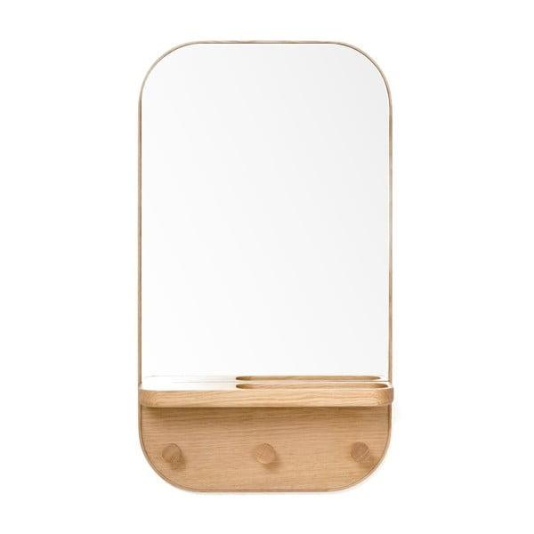 Butler fali tükör fogassal, tölgyfa polccal, 41 x 73,5 cm - Wireworks
