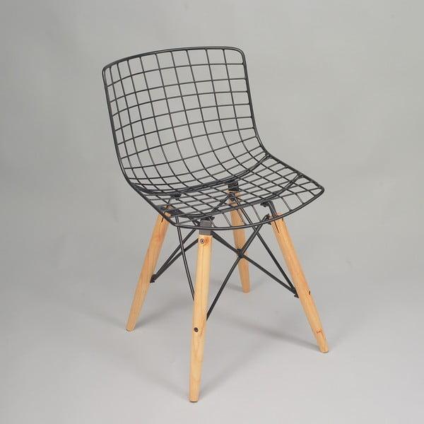 Černá židle s nohami z borovicového dřeva a výpletem z kovu Simla Matt