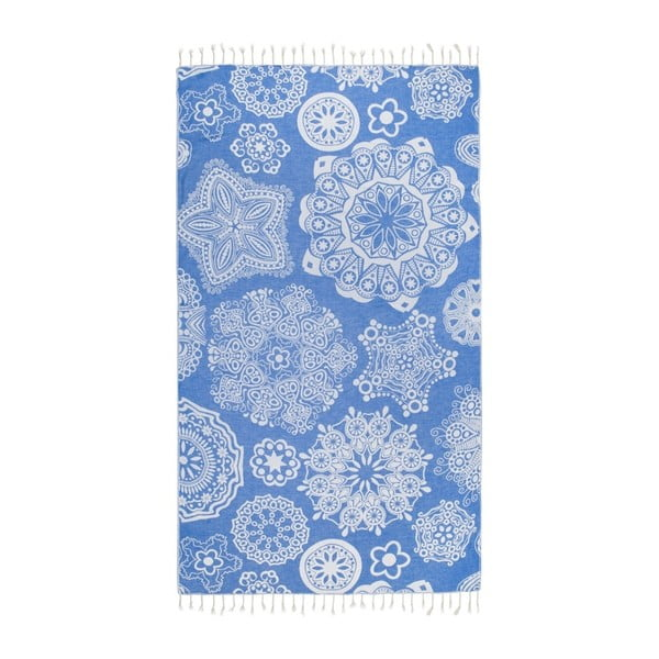 Prosop baie hammam Kate Louise Isabella, 165 x 100 cm, albastru