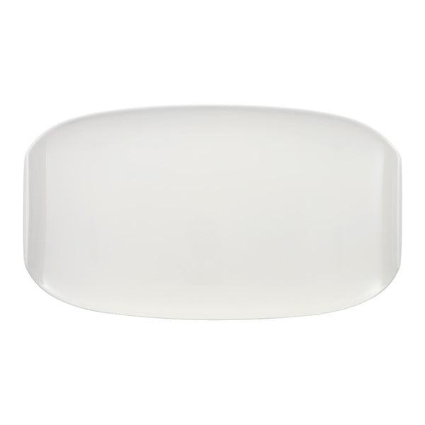 Biely hranatý porcelánový tanier Villeroy & Boch Urban Nature, 42 x 24 cm