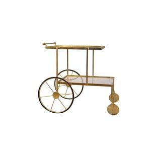 Servírovací pojízdný stolek s detaily ve zlaté barvě Miloo Home Savoy