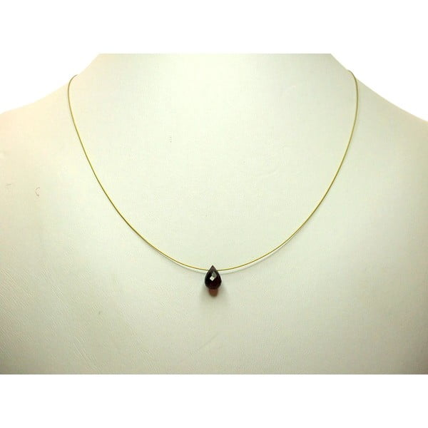 Zlatý náhrdelník Natural Garnet Teardrop (granát)
