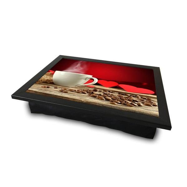 Servírovací tác spolštářem na spodní straně Love Coffee, 36 x 46 cm