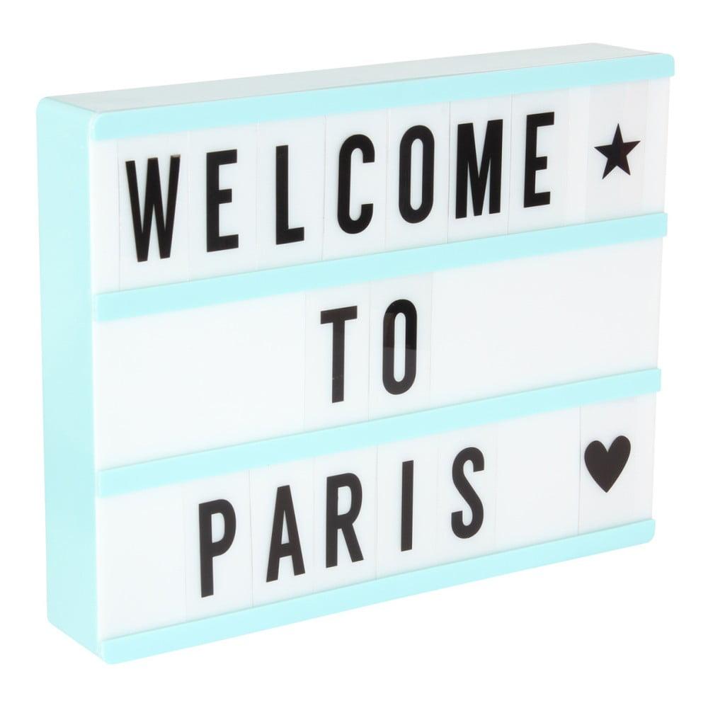Světle modrá světelná tabule se 3 řádky Opjet Paris Affichage