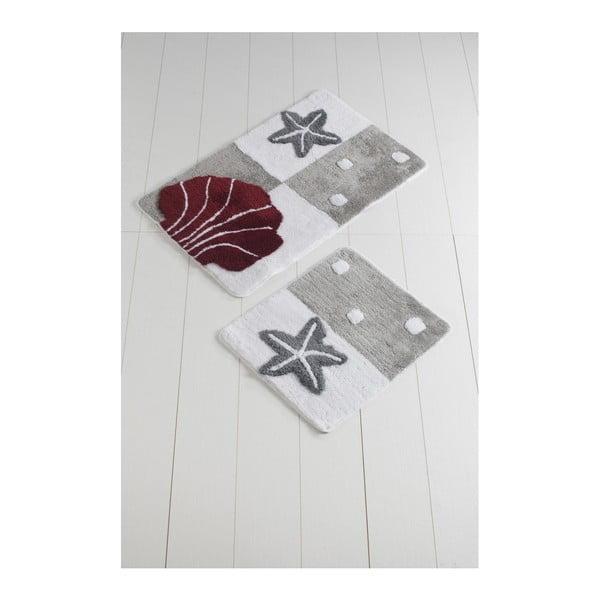 Komplet 2 fioletowo-szarych dywaników łazienkowych Deniz Yildizi