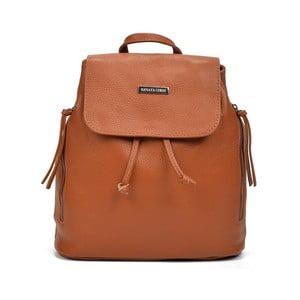 Koňakově hnědý kožený batoh Renata Corsi Brenda