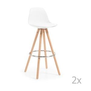 Set 2 scaune cu picioare de lemn bar La Forma Stag, alb