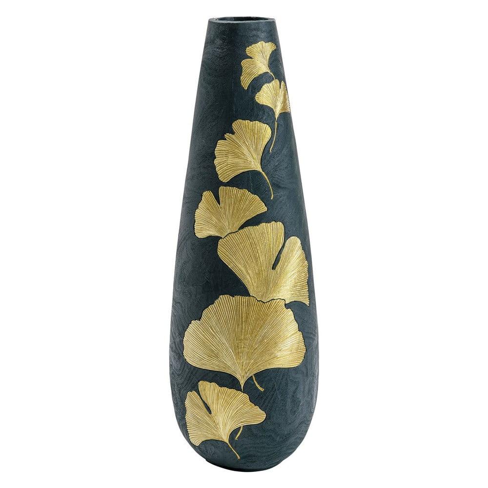 Zelená váza s motivy zlatých listů Kare Design, výška 95 cm