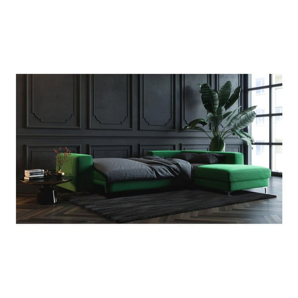Canapea extensibilă cu șezlong pe partea stângă devichy Rothe, verde închis