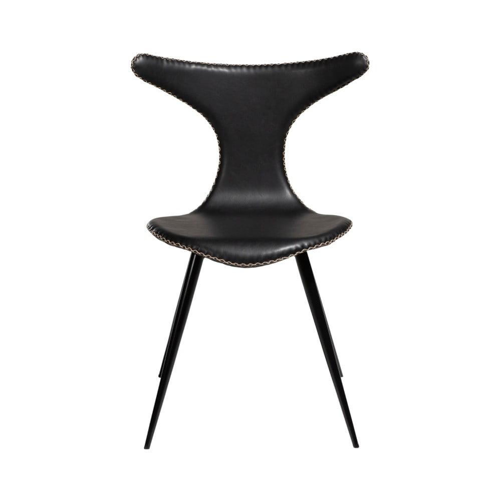 Černá kožená jídelní židle z eko kůže s černým kovovým podnožím DAN–FORM Denmark Dolphin
