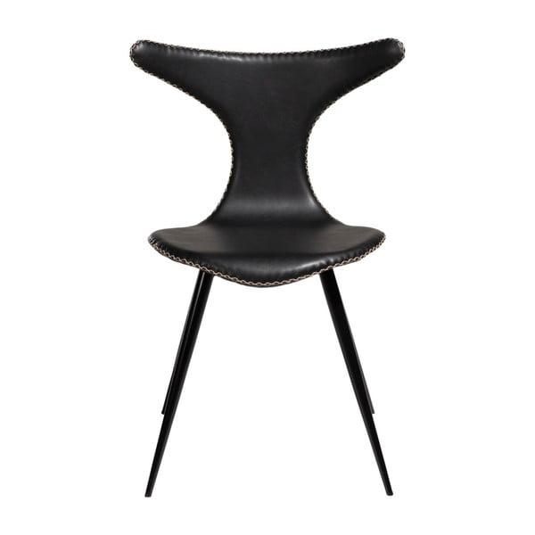 Czarne krzesło ze skóry ekologicznej z czarnymi metalowymi nogami DAN–FORM Denmark Dolphin