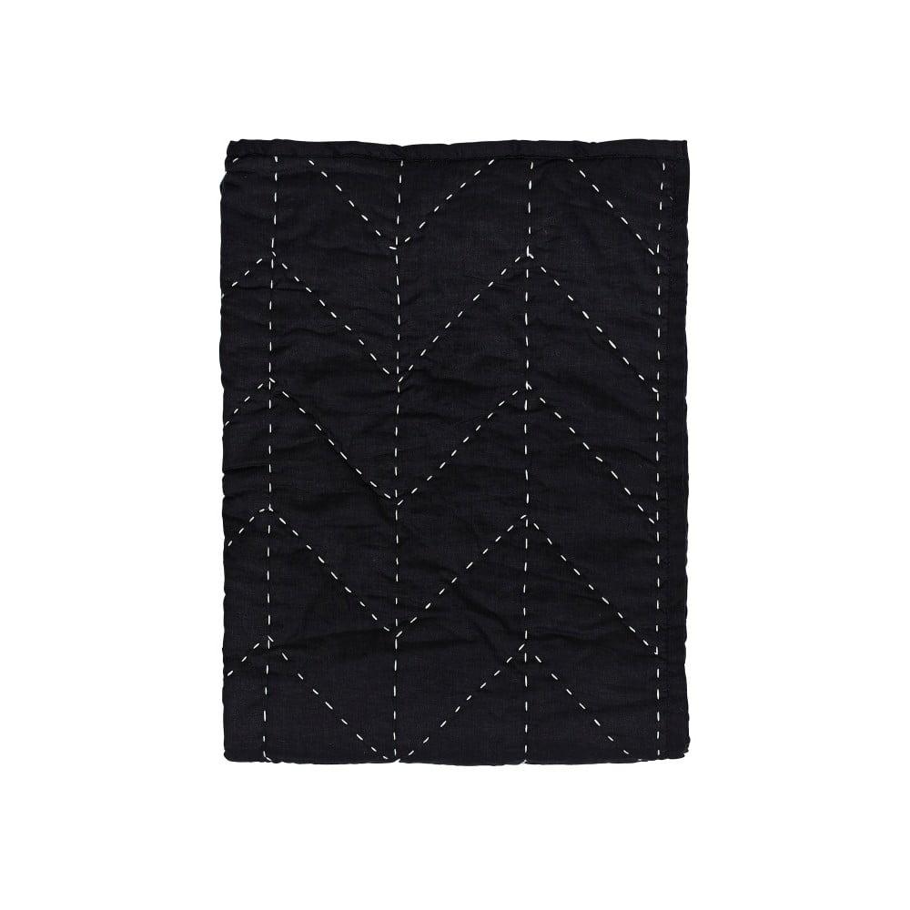 Černý prošívaný přehoz A Simple Mess Molly, 130x170cm