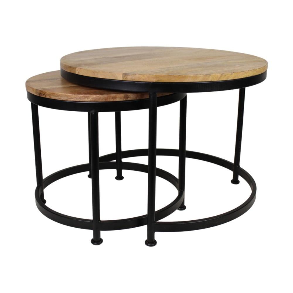 Sada 2 stolků s deskou z mangového dřeva HSM collection Sanndine, ø 45x40 cm