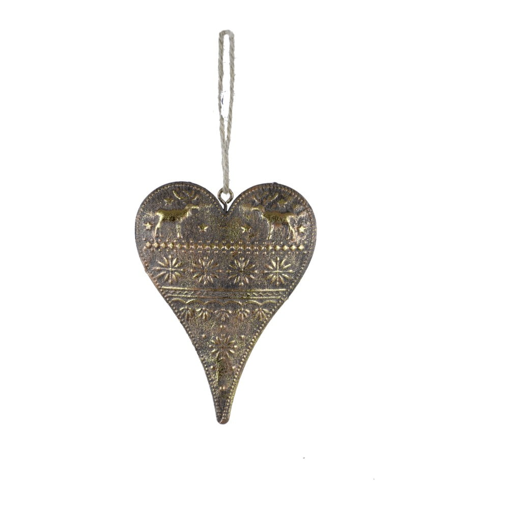 Závěsná dekorace ve tvaru srdce ve zlaté barvě Ego Dekor Heart, výška10cm
