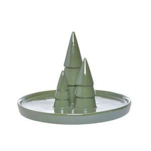 Zelený keramický servírovací tác Ewax Christmas
