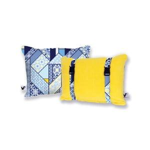 Žlutý oboustranný plážový polštář Origama Lisboa