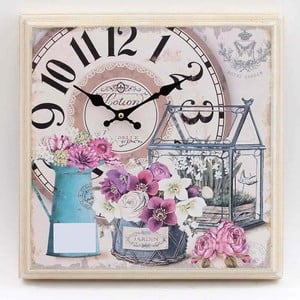 Dřevěné hodiny Flowers, 35x32 cm