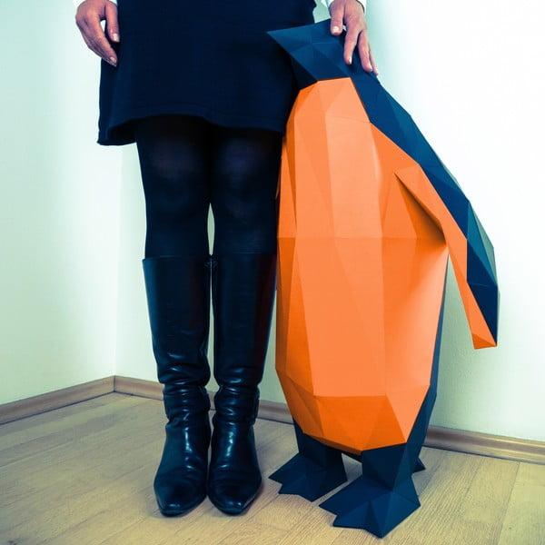 Papírová socha Tučňák XL, černo-oranžový