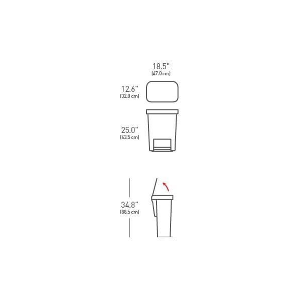 Stříbrný pedálový odpadkový koš simplehuman, 55 l
