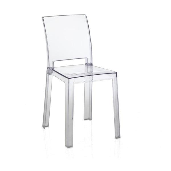 Sada 2 transparentních plastových jídelních židlí vhodných do exteriéru Tomasucci Mia