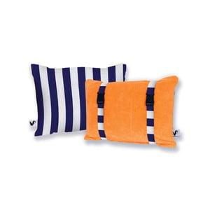 Oranžový oboustranný plážový polštář Origama Blue Stripes