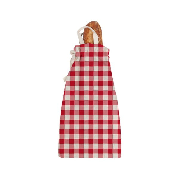 Linen Bread Red Vichy szövet, pékárutartó táska - Linen Couture