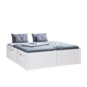 Bílá dřevěná dvoulůžková postel 13Casa Boss, 140x200cm